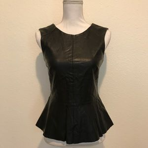 CO Faux Leather Sleeveless Peplum Top